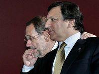 Vysoký představitel Evropské unie pro zahraniční a bezpečnostní politiku Javier Solana (vlevo) a předseda Evropské komise José Manuel Barroso, foto: ČTK