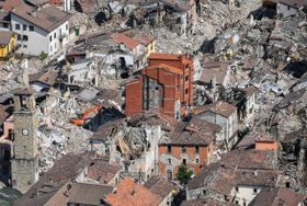 La ciudad Amatrice después del terremoto, foto: ČTK