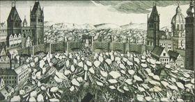 Des glaçons en face du pont Charles lors de l'inondation en février 1784