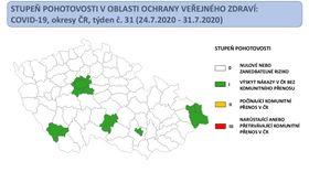 Aktuální mapa srizikovými okresy zhlediska výskytu koronaviru, zdroj: Ministerstvo zdravotnictví ČR