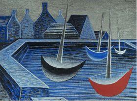 Jan Zrzavý, 'Bateaux dans un coucher de soleil bleu', photo: Galerie nationale de Prague