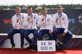 K4 (kayak quatre places): Radek Šlouf, Jan Štěrba, Daniel Havel et Jakub Špicar, photo: ČTK