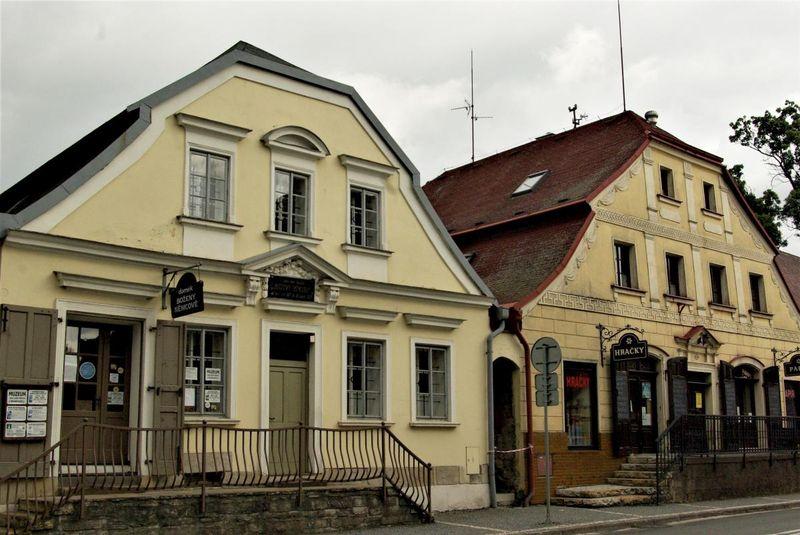 Božena Němcová's home (left) in Červený Kostelec, photo: Vladislava Wildová, Czech Radio