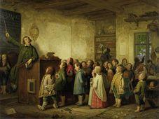 Obraz Johanna Petera Hasenclevera znázorňuje typickou výuku ve střední Evropě v polovině 19. století