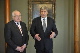Václav Klaus aMiroslav Jansta (vpravo), foto: ČTK