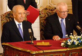 Shimon Peres, Václav Klaus, photo: Christian Falvey