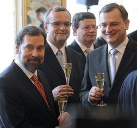 Radek John (Public Affairs), Miroslav Kalousek (TOP 09), Alexandr Vondra , Petr Nečas (both Civic Democrats), left to right, photo: CTK