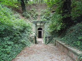 The entrance to the Rudolf's water tunnel in Stromovka park