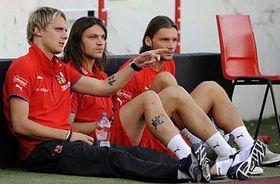 Radoslav Kováč, Tomáš Ujfaluši and Marek Jankulovski, photo: CTK