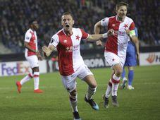 Slavia Praga  - FC Genk, foto: ČTK/AP/Olivier Matthys