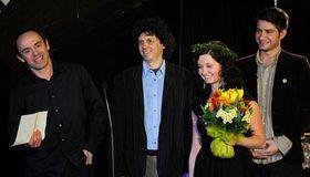 Zleva Petr Forman, Ivan Arsenjev aVeronika Švábová, vpravo moderátor Marek Němec, foto: ČTK