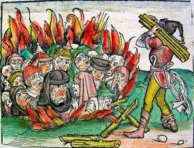 La quema de judios, Imagen de Las Crónicas de Núremberg de 1493, Foto: Michael Wolgemut, Wilhelm Pleydenwurff, licence Public Domain