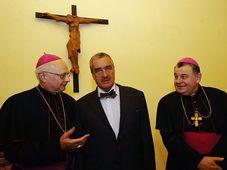Robert Zollitsch, Karel Schwarzenberg, Dominik Duka, photo: CTK