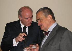 Ministro de RR.EE. peruano, José Antonio García Belaúnde, conversando con su homólogo checo, Karel Schwarzenberg (a la derecha)