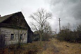 Zchátralý dům ve vesnici nedaleko Černobylu, foto: ČTK