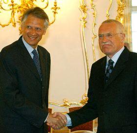Dominique de Villepin y Vaclav Klaus, foto: CTK