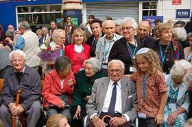 Sir Nicholas Winton with the saved 'children', photo: CTK