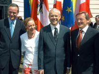 from left to right:Cyril Svoboda, Benita Ferrer-Waldner, Vladimir Spidla, Wolfgang Schüssel, photo: CTK
