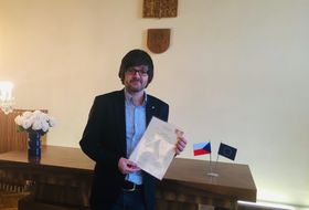 Ian Willoughby with the document affirming he is now a Czech citizen, photo: archive of Ian Willoughby