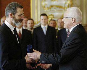 Karel Randak with President Vaclav Klaus, photo: CTK