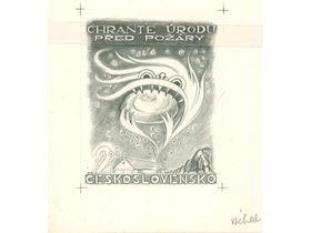 Nerealizovaný návrh Josefa Váchala nazvaný Chraňte úrodu před požáry (1954), foto: archiv Poštovního muzea
