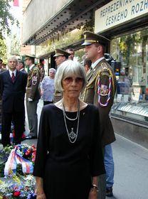 Jaroslava Moserova during the commemoration ceremony outside the Czech Radio building