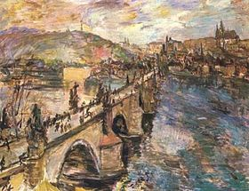 Charles Bridge by Oskar Kokoschka (1934, National Gallery)