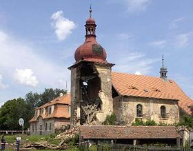 Collapsed part of the baroque church in Vidhostice, photo: CTK