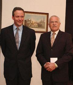 Ministro de RR. EE., Cyril Svoboda y presidente checo, Václav Klaus, foto: CTK