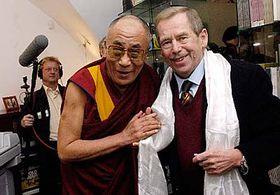 Dalai Lama and Vaclav Havel, photo: CTK