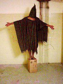 Iraqi prisoner being tortured in Abu Ghraib, photo: Public Domain