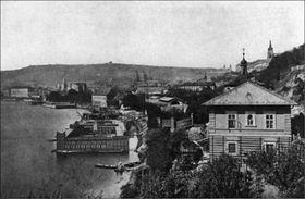 Prague Civilian Swimming School around 1870