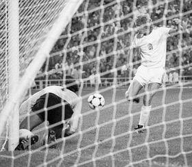 Jindřich Svoboda scores against East Germany, photo: CTK