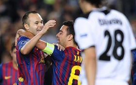 Andrés Iniesta y Xavi Hernández, foto: ČTK