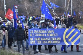 Demonstration against anti-immigration parties conference, photo: CTK