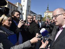 Bohuslav Sobotka na mítinku ve Vyškově, foto: ČTK
