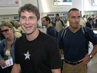 Jan Zelezny and Roman Sebrle at the Ruzyne Airport, photo: CTK