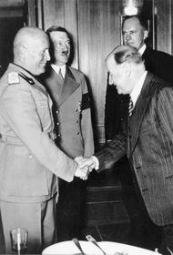 Munich Agreement - Benito Mussolini, Adolf Hitler, Edouard Daladier, photo: Heinrich Hoffmann, Bundesarchiv, Bild 146-1971-041-31 / CC-BY-SA 3.0