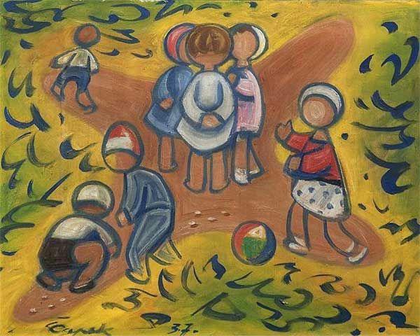 Josef Čapek, 'Les enfants en jouant', 1937, source: public domain