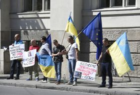 People protest opening of Donetsk People's Republic consulate in Ostrava, photo: CTK