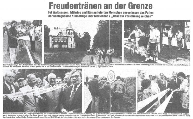 Zeitungsartikel über die Grenzöffnung (Quelle: Stiftlandbote Kemnather Land vom 2. Juli 1990)