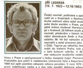 Jiří Lederer, photo repro: Jan Palach / Vydavatelství a nakladatelství Novinář