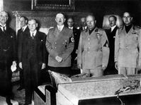 Tratado de Munich - Chamberlain, Daladier, Hitler, Mussolini, Ciano, foto: CTK