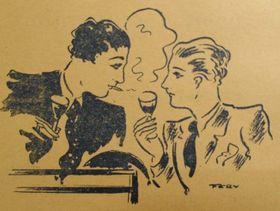 Obrazový doprovod zreklamy na 'teplý' podnik Casino de Paris včasopise Hlas sexuální menšiny, 30. léta 20. století. Reprofoto: Teplá Praha