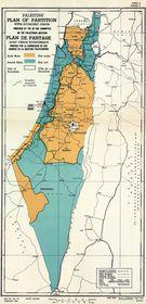 Propuesta de la ONU en 1947 de la partición de Palestina. Foto: public domain