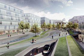 Le projet de rénovation de la gare Masaryk, visualisation: Jakub Cigler Architekti