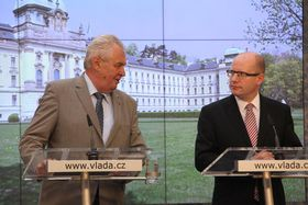Miloš Zeman, Bohuslav Sobotka, photo: archive of Czech Government