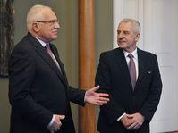 Václav Klaus, Leoš Heger (right), photo: CTK