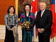 Princess Anne (middle) with Livia and Vaclav Klaus, photo: CTK