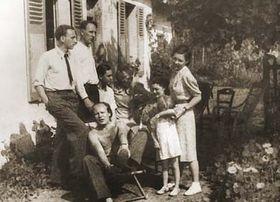 Jiří Mucha (à gauche) avec Bohuslav Martinů, Rudolf Kundera (assis)